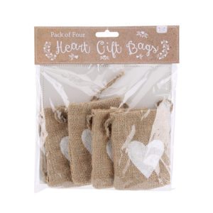 Heart jute gift bags