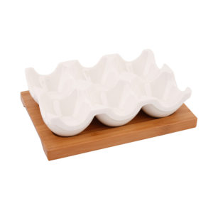 Bamboo & Ceramic Egg Holder
