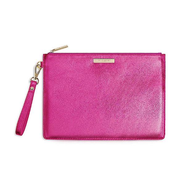 Katie Loxton Clutch Bag Metallic Pink