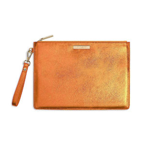 Katie Loxton Clutch Bag Metallic Orange