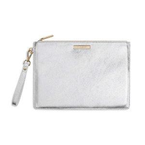 Katie Loxton Clutch Bag Metallic Silver