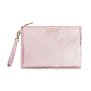 Katie Loxton Clutch Bag Metallic Rose Gold